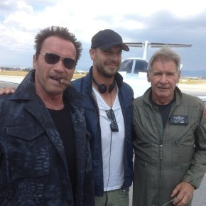 Arnold Schwarzenegger and Harrison Ford on the set of Expendables 3!!