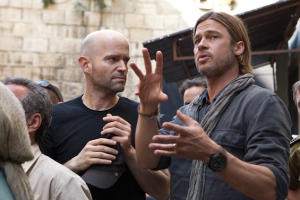 Brad Pitt and Marc Forster on the set of World War Z.