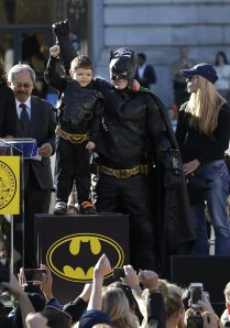 Batkid getting key to city