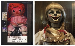 The real Annabelle (left) vs. the film version (right).